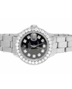 Ladies Rolex Datejust 26MM Black Dial Diamond Watch 2.5 Ct