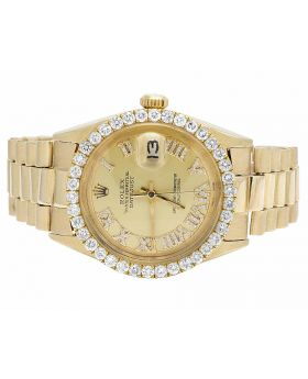 Rolex President 18K Yellow Gold 36MM Presidential Datejust Diamond Watch 3.5 Ct