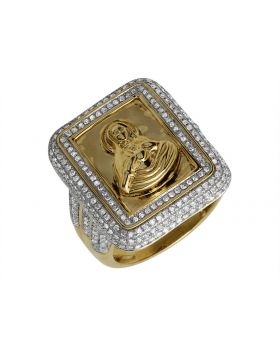 10K Yellow Gold Mother Mary Genuine Diamond Ring 1.25ct