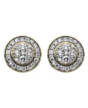 10K Yellow Gold 13MM Halo Flower-Shape Round Diamond Stud Earring 2CT