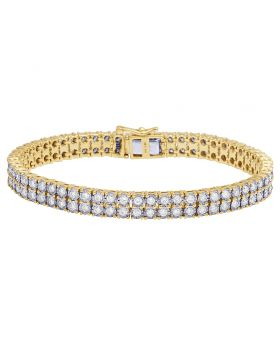 Diamond Two Row Tennis Miracle Bracelet in 10K Yellow Gold 4.5Ct 7mm 7""