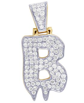 Mens 10K Yellow Gold Drip Initial B Real Diamond Charm Pendant 1.55 CT