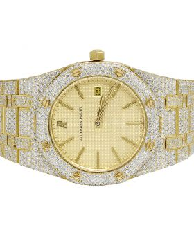 Ladies 18K Yellow Gold Audemars Piguet 33MM Diamond Watch 16.75 Ct