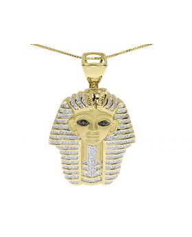 King Tut Pharaoh Egyptian Pendant In Yellow Gold Finish (1.6 Ct)