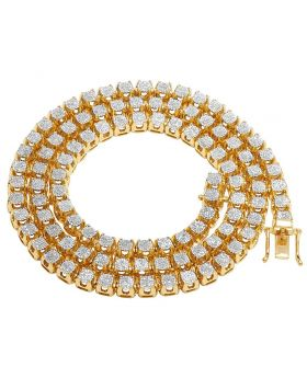 """10K Yellow Gold Diamond 6MM Cluster Tennis Chain Necklace 6.2 CT 24"""""""