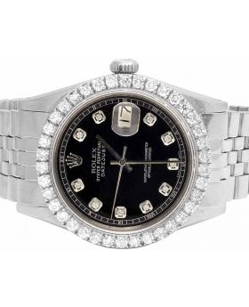 Rolex Datejust 36MM Oyster Perpetual Black Dial Diamond Watch 2.95 Ct