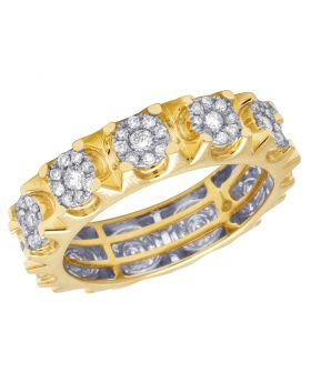 Men's 14K Yellow Gold Genuine Diamond Cluster Eternity Band Ring 1.60 CT 7MM