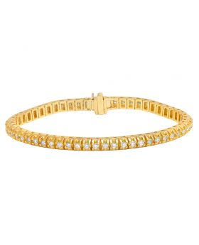 Diamond One Row Pyramid Bracelet in 10K Yellow Gold 4Ct 5.5mm 8""