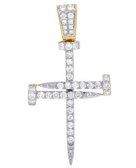 Mens 10K Yellow Gold Real Diamond Nail Cross Charm Pendant 1.90 CT