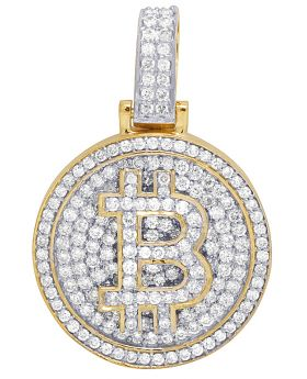 Mens 10K Yellow Gold Medallion Bitcoin Initial B Diamond Pendant 3.5CT
