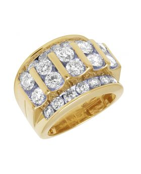 10K Yellow Gold Real Diamond Channel Set Mens Pinky Ring 5.50 CT
