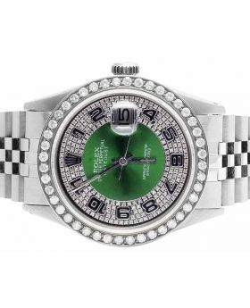 Mens Rolex Date Just 36 MM Jubilee Green Dial Diamond Watch 3.25 Ct