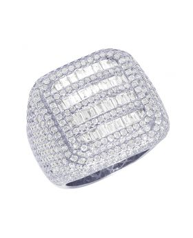 Men 14K Championship White Gold XL Rounded Square Baguette Pinky Ring  23MM 5.85CT