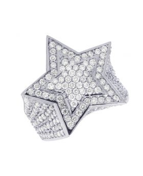Mens 10K White Gold 3D Super Star Diamond Ring 6.25CT