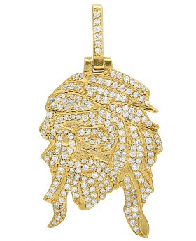 10K Yellow Gold Reversible Digital Face Jesus Diamond Pendant 2.5CT