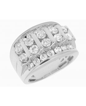 10K White Gold Real Diamond Channel Set Mens Pinky Ring 3.28 CT