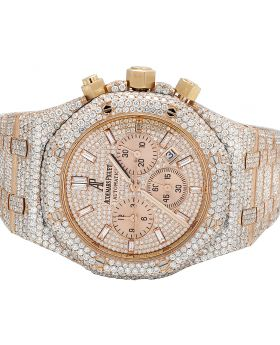 Audemars Piguet 18K Rose Gold Royal Oak 41MM Diamond Watch 31.75 Ct