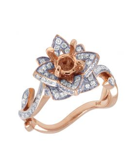 14K Rose Gold 0.80 CT Diamond Vine Floral Semi Mount Ring