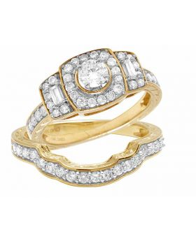 14K Yellow Gold Real Diamond 2 Piece Wedding Ring Set 1.0ct