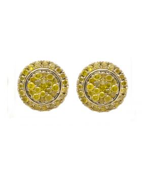10K Yellow Gold 13MM Halo Flower Canary Diamond Stud Earring 1.80CT