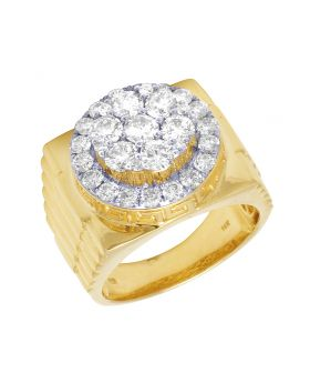 14K Yellow Gold Real Diamond Step Shank Pinky Ring 2.75 CT