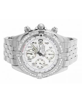 Breitling A13356 Evolution Chronomat White Dial Diamond Watch 3.0 Ct