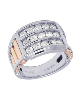 14K Two Tone Gold Real Diamond Mens Channel Ring 1.50 CT