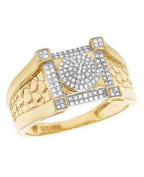 10K Yellow Gold Real Diamond Square Pinky Ring 1/4 CT 13MM