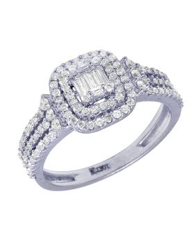Double Halo White Gold Baguette Diamond Engagement Ring 10MM 0.7 Ct