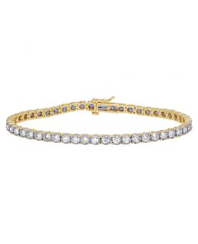 One Row Tennis Diamond Miracle Bracelet in 10K Yellow Gold 5.35Ct 4mm 8.25""