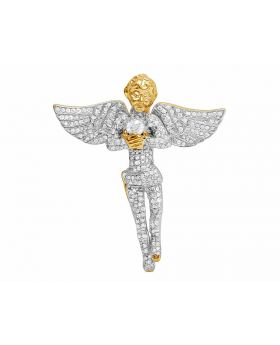 Men's 10K Yellow Gold Genuine Diamond Iced Angel Pendant 1Ct 1.5""