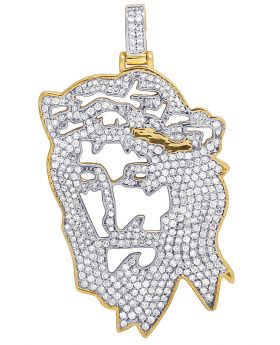 10K Yellow Gold Cutout Digital Christ Jesus Diamond Pendant 3.20CT