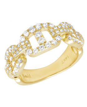 14K Yellow Gold Mariner Link Real Diamond Ring 1.5CT 9MM
