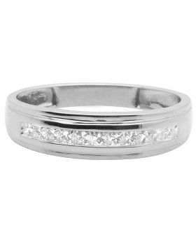 10K White Gold One Row Channel Princess Diamond Wedding Band Ring 0.25 Ct
