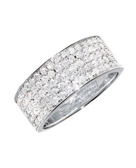 Pave Diamond 8mm Band in White Gold (1.0 ct)