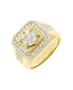 14k Yellow Gold Mens Cluster Diamond Fashion Pinky Ring (2.50 ct)