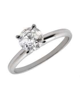 14K White Gold Diamond Solitaire Engagement Ring 1.25ct