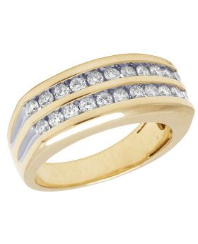 10K Yellow Gold Real Diamond Mens Two Row Channel Set Ring 1.10 CT
