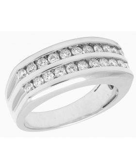 10K White Gold Real Diamond Mens Two Row Channel Set Ring 1.10 CT