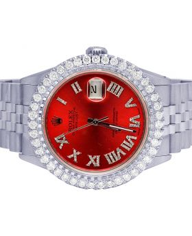 Rolex Datejust 36MM S.Steel 16014 Red Dial Diamond Watch 3.75 Ct