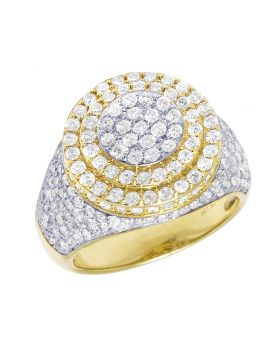 Men 10K Yellow Gold 3 Tier Real Diamond Pinky Ring 18MM Size 10
