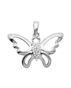 10K White Gold Butterfly Real Diamond Pendant 0.05ct