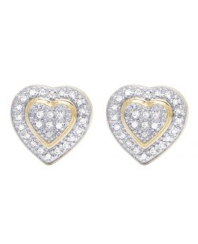 Ladies 10K Yellow Gold Genuine Diamond Double Heart Stud Earring 1/4 Ct 10MM