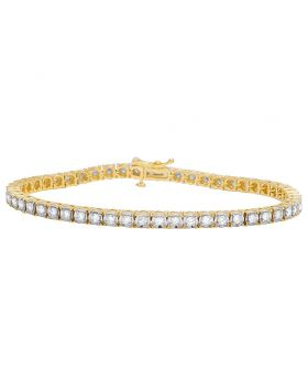 10K Yellow Gold Diamond 4MM Miracle Tennis Bracelet 3 CT 8""