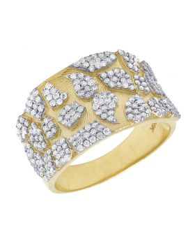 Mens 10K Yellow Gold Nugget Real Diamond Pinky Ring 1.25CT