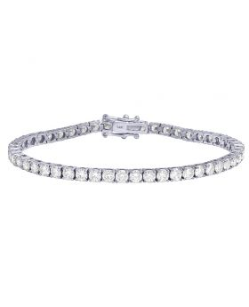 Solitaire Diamond Tennis Bracelet in 10K White Gold 11.5Ct 3.5mm 7""