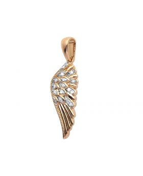 10K Rose Gold Real Diamond Wing Pendant Charm 0.05CT