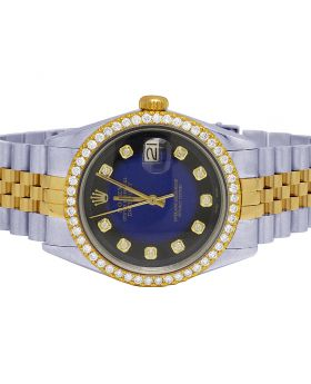 Rolex Datejust 18K/ Steel 36MM Blue Dial Diamond Watch 2.5 Ct