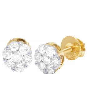 10K Yellow Gold Flower Cluster Diamond Earrings .50CT