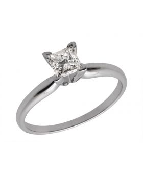 14K White Gold Princess Diamond Solitaire Engagement Ring 1.0ct